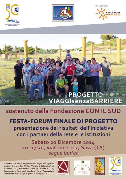"""Sabato 20 Dicembre a Sava (Ta): Festa finale del progetto """"Viaggi senza Barriere"""""""