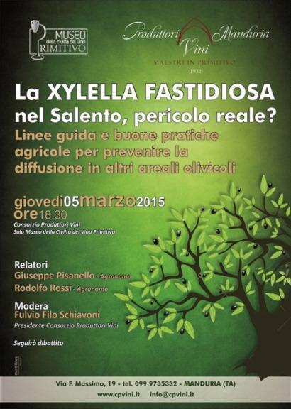 Olivicoltura, convegno a Manduria il 5 marzo sulla Xylella Fastidiosa nel Salento. Linee guida per prevenirne la diffusione
