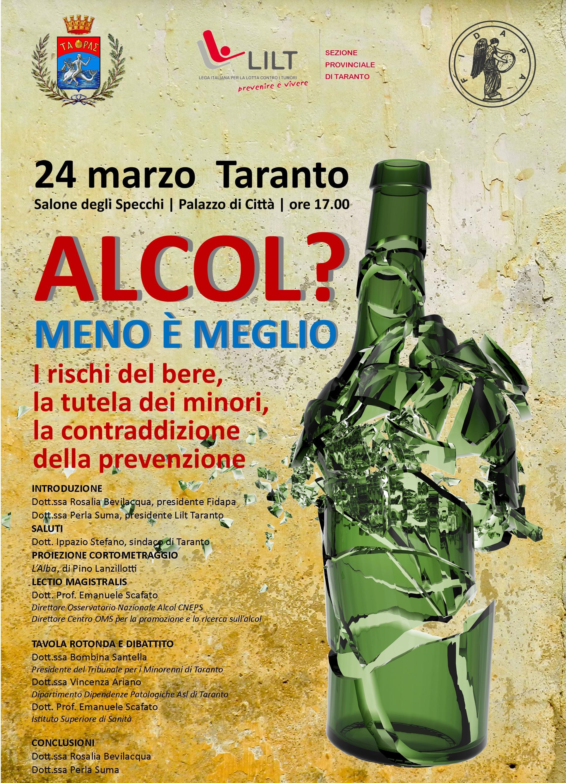 I rischi dell'alcol: da Lilt e Fidapa, un qualificato convegno a Taranto