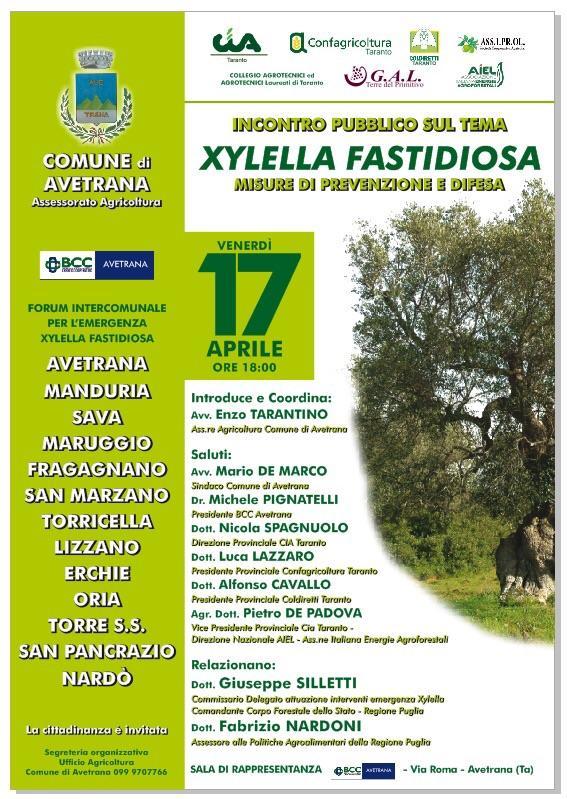Avetrana – Forum intercomunale emergenza Xylella Fastidiosa
