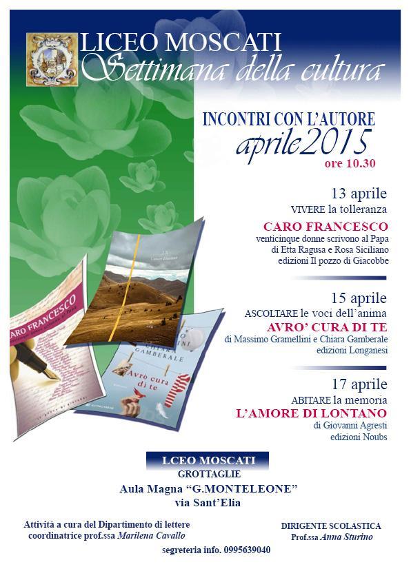 Grottaglie, Liceo Moscati, Lunedì 13 aprile: Informazione e Non Violenza con Etta Ragusa e Rosa Siciliano