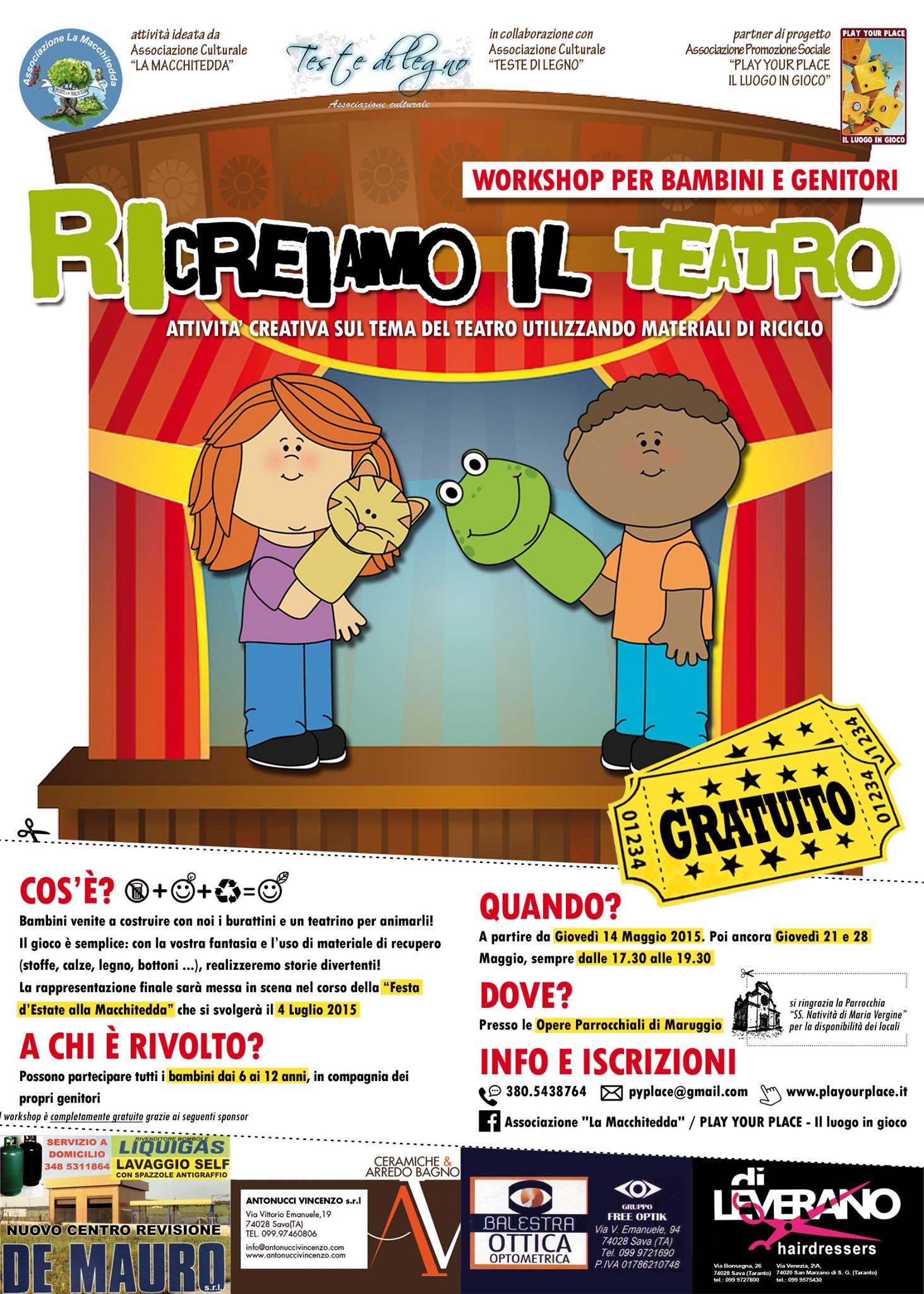 """Maruggio: """"Ricreiamo il teatro"""", workshop di costruzione di burattini e teatrino per bambini e genitori"""