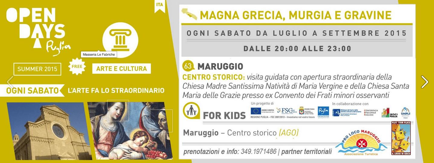 """Da Luglio a Settembre, tutti i Sabato sera: """"Puglia Open Days 2015"""" anche a Maruggio (Ta), alla scoperta del centro storico e delle chiese"""