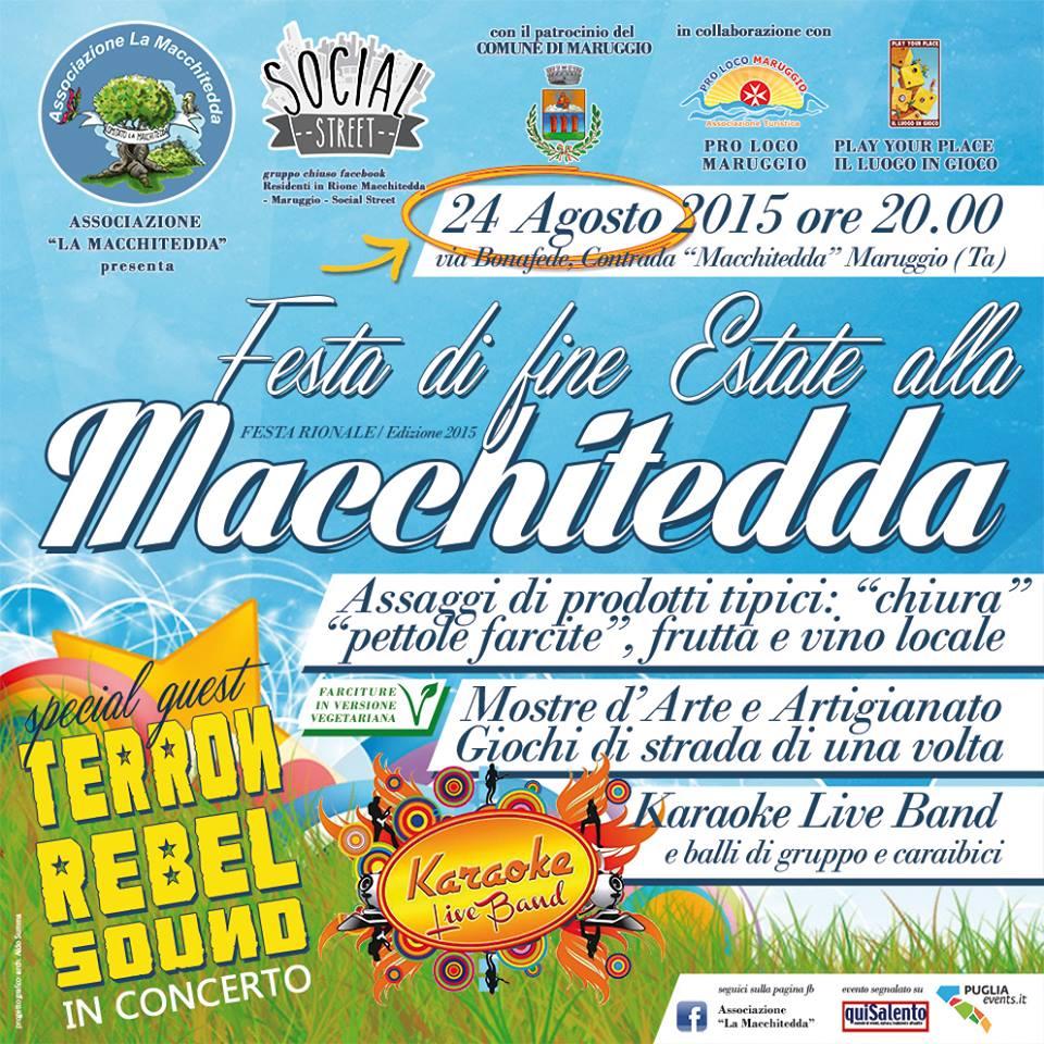 """Lunedì 24 Agosto 2015 torna la """"Festa di fine Estate alla Macchitedda"""": serata di giochi, gusto e musica in compagnia del vicinato"""