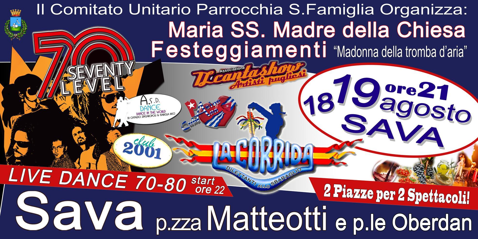 """""""Festa Madonna della Tramba D'Aria"""" 18 e 19 agosto a Sava, dal 1976"""