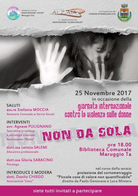 """Maruggio - Giornata Internazionale contro la violenza sulle donne: Non da sola"""", incontro a cura dell'associazione """"Lotus"""""""